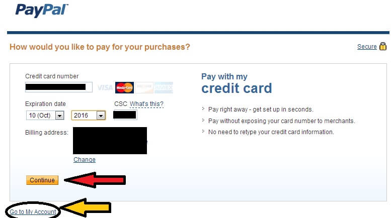 Adding your credit card details to link your Capitec Global One Card to your Paypal Account