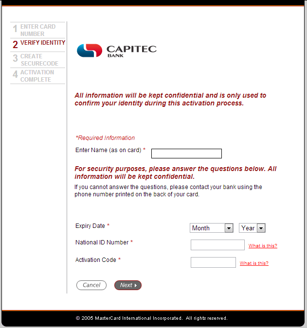 How to Activate the Capitec MasterCard SecureCode