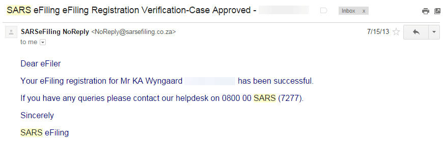 Second email from SARS efiling