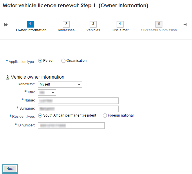 Fill in your details and click next