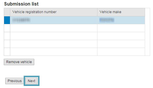 Once your vehicle has been submitted to the list click next