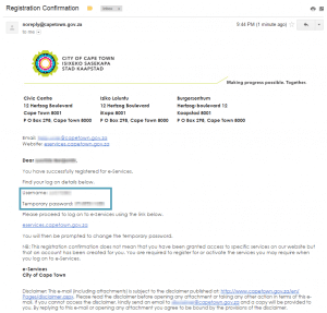 Email received upon registering for the City of Cape Town's e-Services