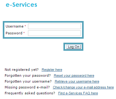Fill in your e-Services log in details