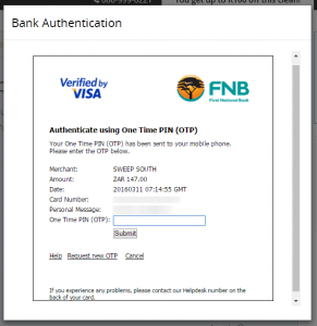 FNB 3D Secure One Time Pin Verification