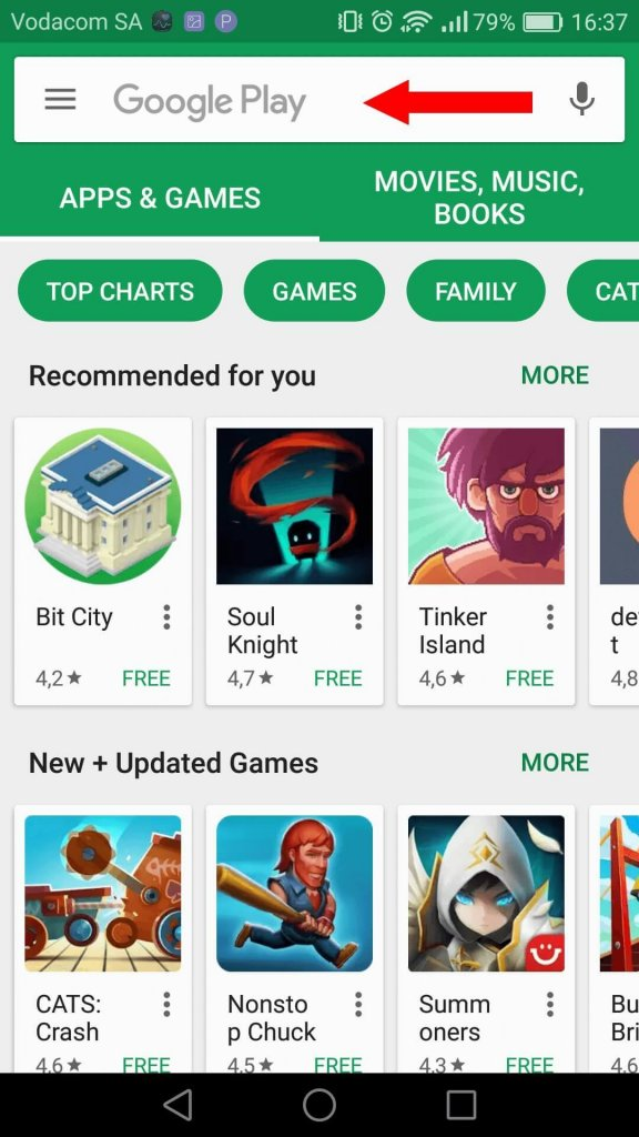 Search UberEats in the Google Playstore Search bar