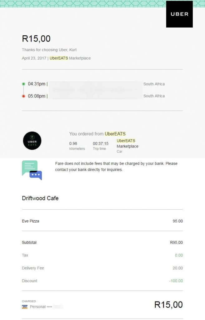 email receipt from UberEats